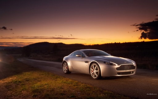 LightGray Aston Martin at sunset desktop wallpapers. LightGray Aston Martin at sunset free hq wallpapers. LightGray Aston Martin at sunset