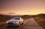 LightGray Aston Martin at sunset   front side desktop wallpapers|free hq hd wallpapers LightGray Aston Martin at sunset   front side