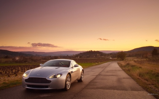 LightGray Aston Martin at sunset   front side desktop wallpapers. LightGray Aston Martin at sunset   front side free hq wallpapers. LightGray Aston Martin at sunset   front side