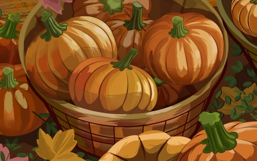 Basket with pumpkins desktop wallpapers. Basket with pumpkins free hq wallpapers. Basket with pumpkins