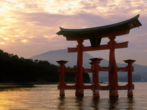 Miyajima Shrine at Sunset  Miyajima  Japan desktop wallpapers. Miyajima Shrine at Sunset  Miyajima  Japan free hq wallpapers. Miyajima Shrine at Sunset  Miyajima  Japan