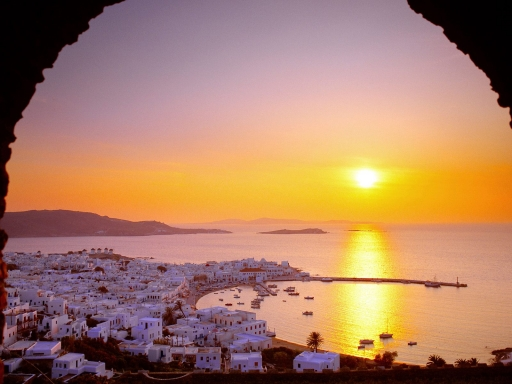The Cyclades Islands at Sundown  Greece desktop wallpapers. The Cyclades Islands at Sundown  Greece free hq wallpapers. The Cyclades Islands at Sundown  Greece