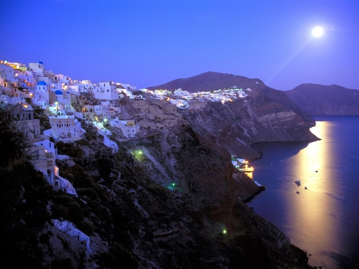 Moonrise Over Santorini  Greece desktop wallpapers. Moonrise Over Santorini  Greece free hq wallpapers. Moonrise Over Santorini  Greece